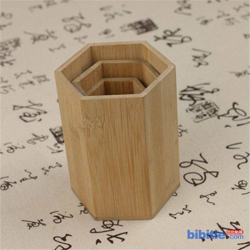 教学用品笔筒 厂家直销笔筒桌面摆饰 多功能笔筒定制 收纳盒竹木图片