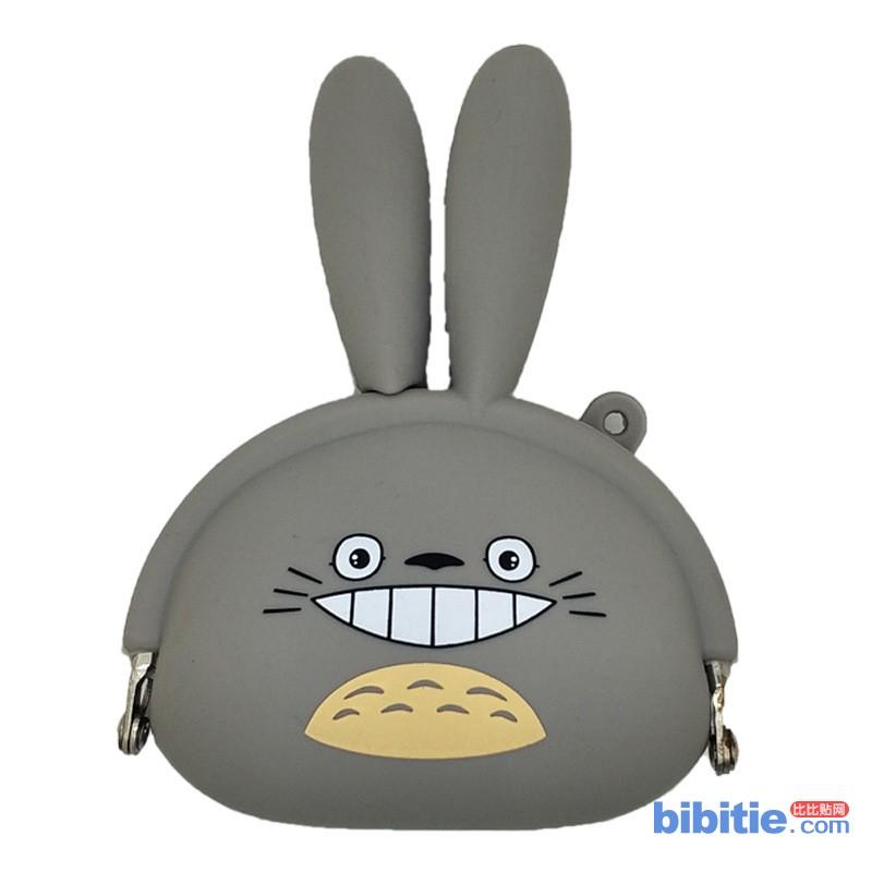 新品兔耳朵硅胶零钱包小兔子钱包 日本卡通动漫龙猫硅胶钱包图片
