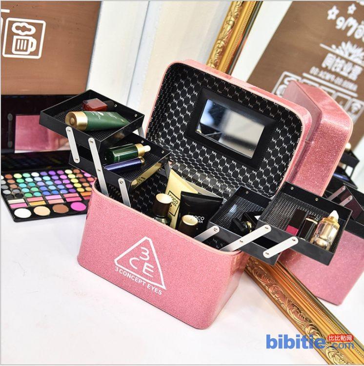 热销四开盒3ce化妆包女韩国手提大容量化妆箱多功能化妆品收纳包图片