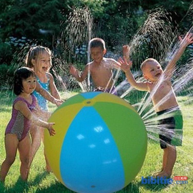 工厂订做pvc充气喷洒球户外儿童戏水玩具充气喷淋圈夏季沙滩泳圈图片
