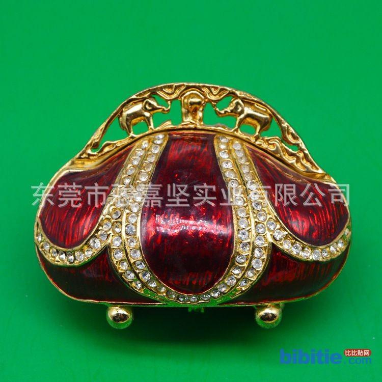 厂家定做高端合金工艺品礼品手袋型首饰盒暗红色时尚小巧精美摆件图片