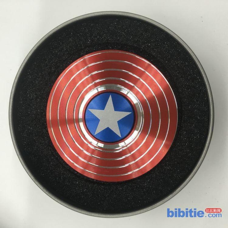 指尖陀螺美国队长 AA面AB面螺旋纹护盾盾牌成人减压玩具 现货图片