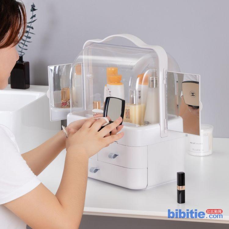 2018款网红化妆品收纳化妆箱抽屉式透明化妆箱美容护肤化妆收纳盒图片