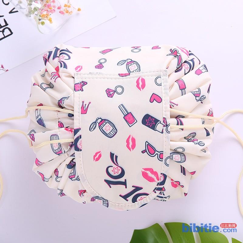 韩版大容量火烈鸟懒人化妆包多功能抽绳收纳包便携洗漱包旅行神器图片