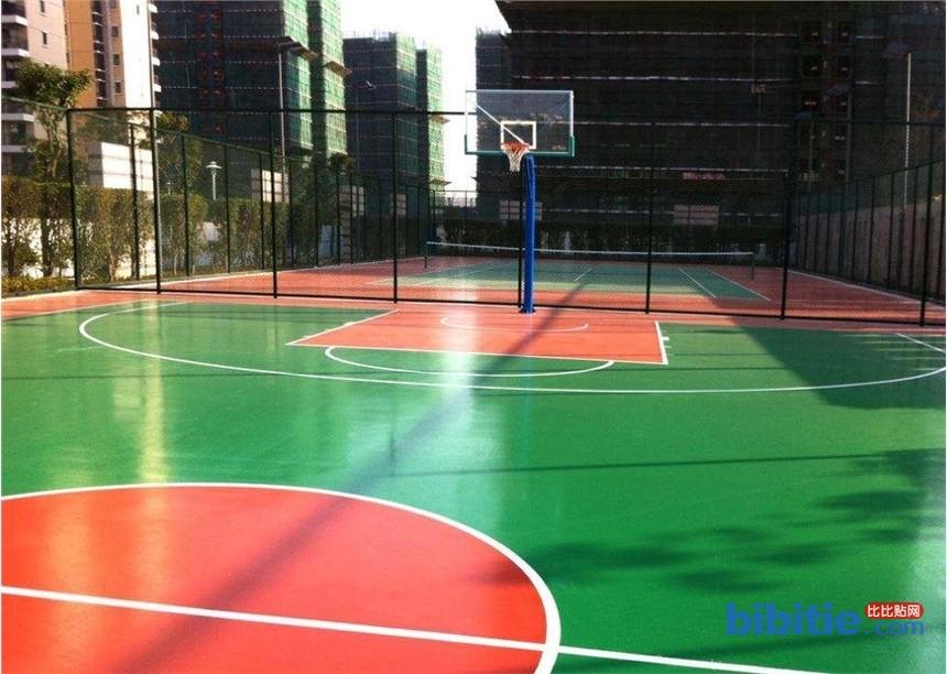 天津室外高档硅PU篮球场场地建设图片