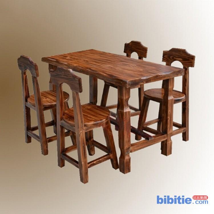 扎啤烧烤条桌 长条桌套台 快餐桌板凳 碳烧实木餐厅家具图片