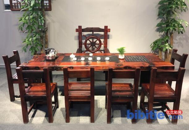 古船木茶几 老船木现代家具茶桌 简约休闲茶台图片
