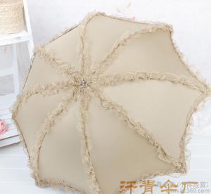 欧美新款 八条蕾丝花边太阳伞超防紫外黑胶防晒公主折叠遮阳伞图片