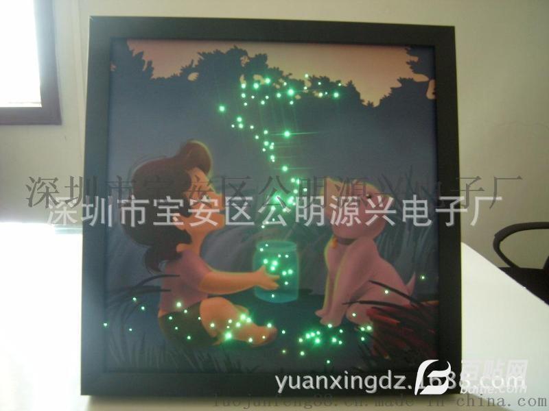 批发供应led灯音乐发光挂画创意动漫简约卧室有框光纤闪光挂画图片