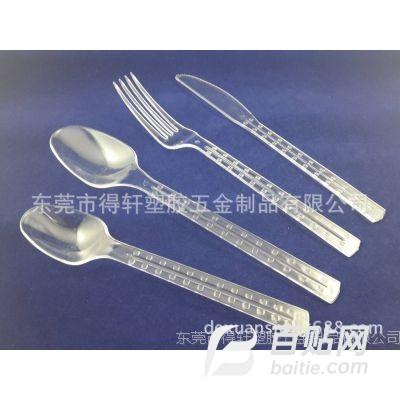 批发餐饮用品塑料刀叉勺  一次性塑料西餐刀叉 塑料环保刀叉勺图片