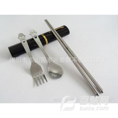 铝盒餐具三件套,不锈钢环保餐具,便携式餐具套装,家居生活用品图片