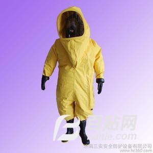 济南三安安全防护 重型防化服 厂家直供重型全封闭绸布防化服 多规格气密性防化服图片