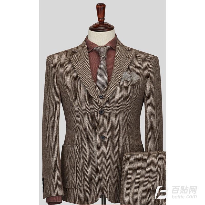 卓越维臻男士修身纯羊毛格纹商务休闲西服外套图片