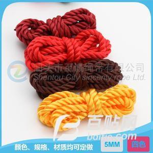 厂家直销 环保多彩色三股扭绳 5mm宽服装辅料 卫衣帽用带 PP绳子图片