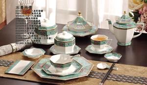 金维美供应高端陶瓷餐具桌面餐具整套八角系列水墨丹青14件图片