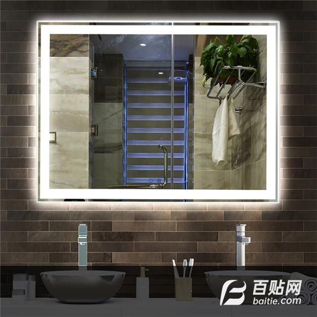 led浴室镜带灯卫生间镜子壁挂防雾厕所发光镜子洗水智能镜子触摸图片