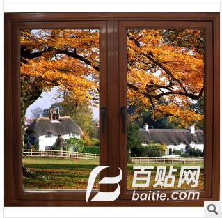 供应深长江68系列铝合金窗木纹金属中空玻璃图片